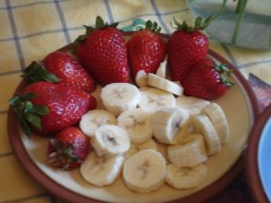 Strawberries and Bananas http://kellylmckenzie.com/olympic-valentiness-day-treat/
