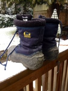 Side view of snow boots http:??kellylmckenzie.com/olympic-moments/