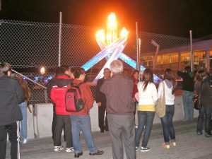1:30 AM at the 2010 Olympic cauldron. http://kellylmckenzie.com/olympic-fever-24/7