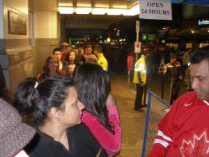 Folks lining up for 2010 Olympic souvenirs outside the Bay at midnigh. htttp://kellylmckenzie.com/olympic-fever-24-7