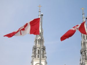 Two Canadian flags on Parliament hill http://kellylmckenzie.com/olympic-valentines-day-treat/